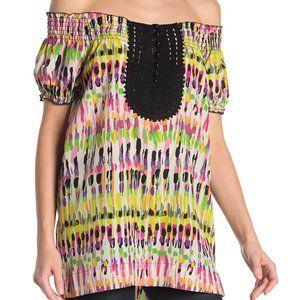 NWT Vertigo | Crochet Lace Print  Woven Top | sz S